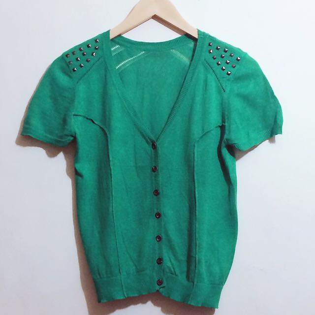 GREEN STUDDED KNIT TOP