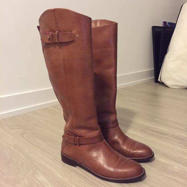 Halogen Cognac Leather Riding Boots