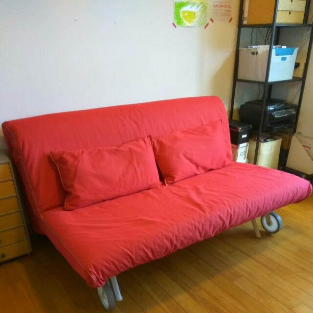 Ikea Ps Lövås Sofa Bed With Red Cover