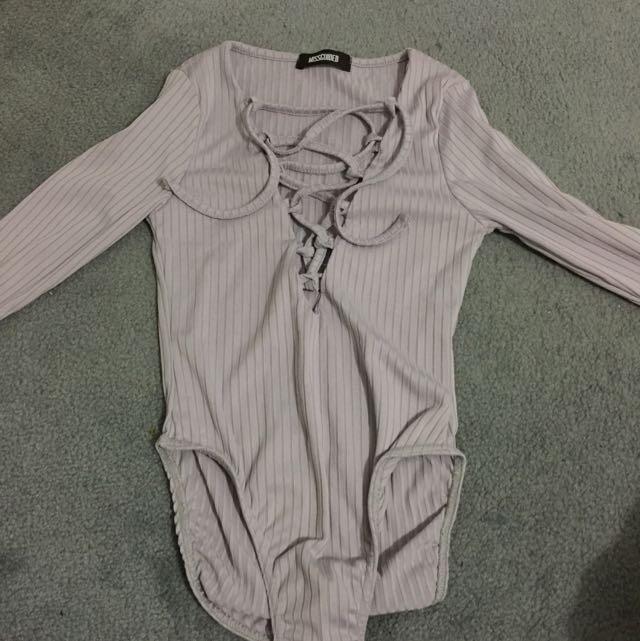 Lace Up Body Suit Lilac