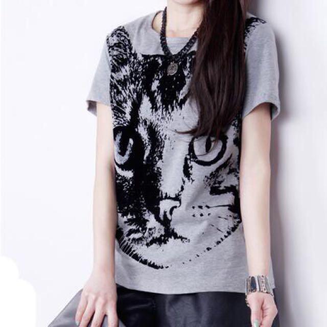 New Animal Print O Neck T Shirt Tops