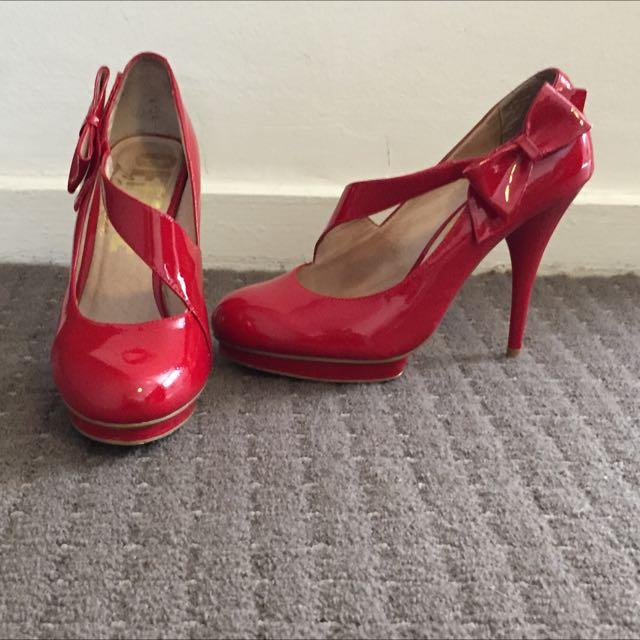 Office Patent Red Stiletto Pumps Size: 8(au)