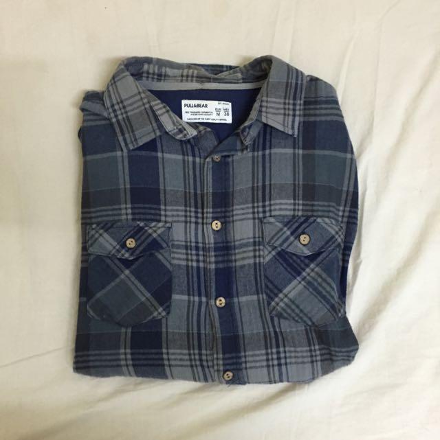 Pull&bear 格紋襯衫 尺寸:M