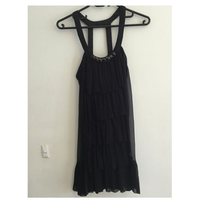 Rachel Gilbert Black Embellished Neckline Dress Size: 1 (au 8)