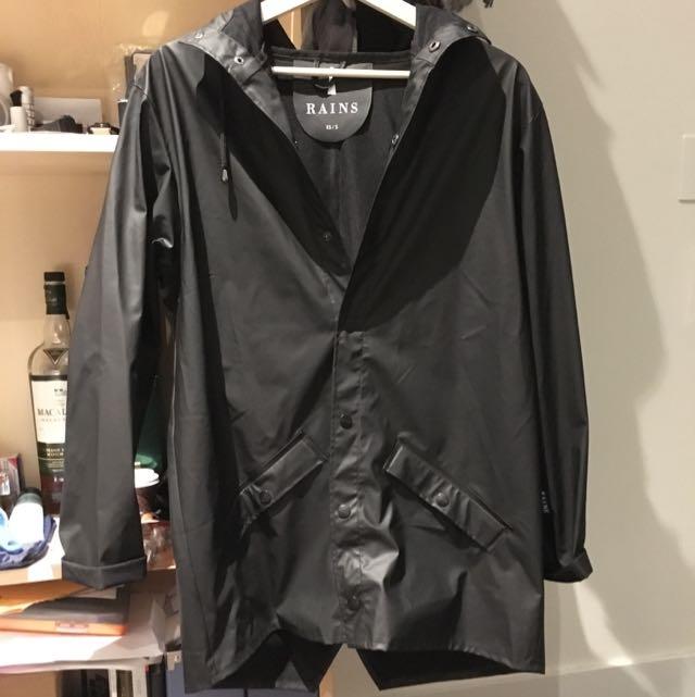 Rains Black Windbreaker Jacket