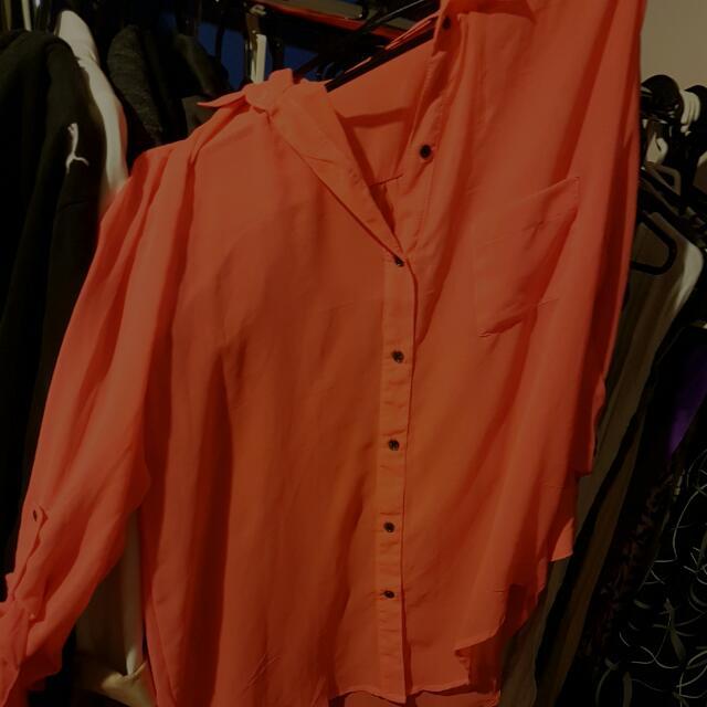Sheer Bright Coral Collar Shirt