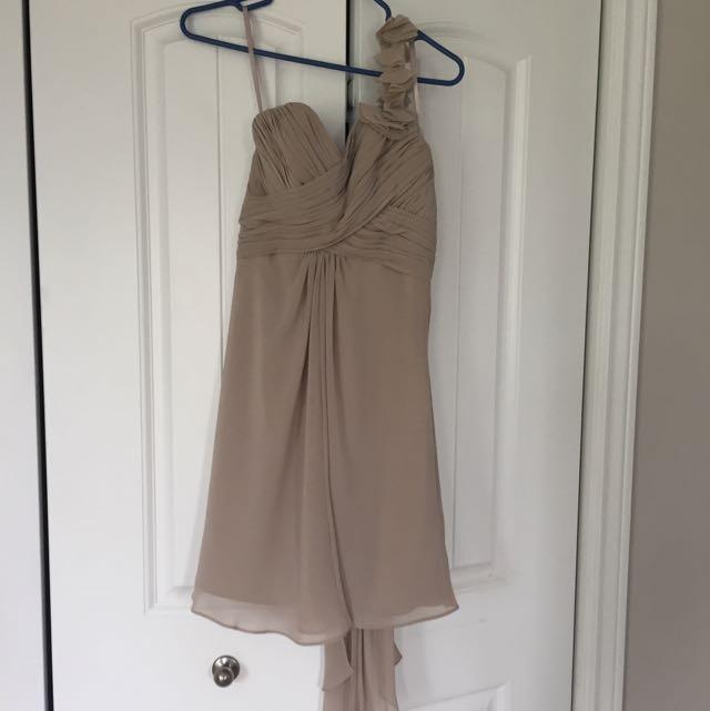 Size 2 Allure Bridals Bridesmaid Dress Champaign/nude Colour