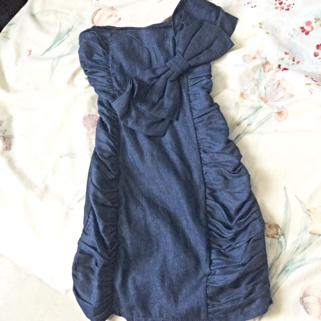 Strapless Navy Denim Style Dress With Bow