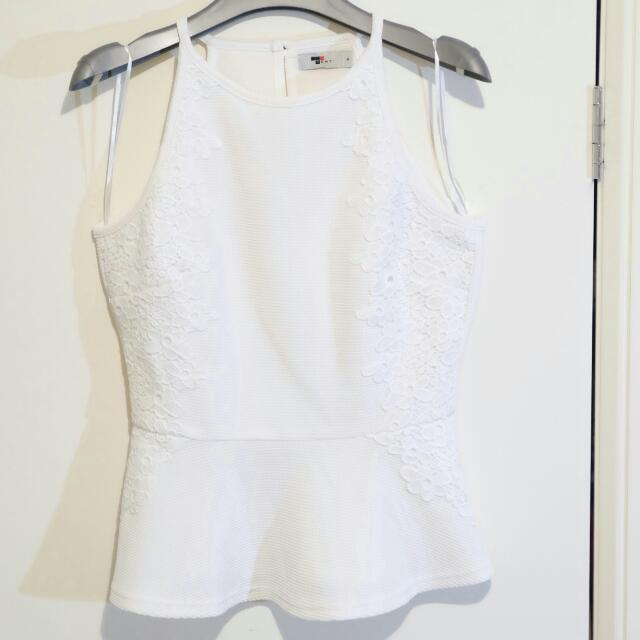 Temt White Blouse With Embroidery