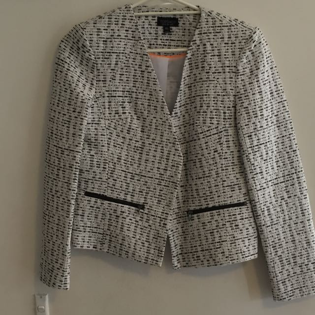 Topshop Black And White Blazer Size: 10