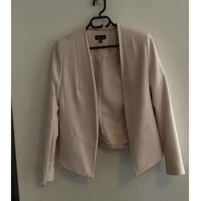 Topshop Collarless Blazer Blush Pink Size: 10