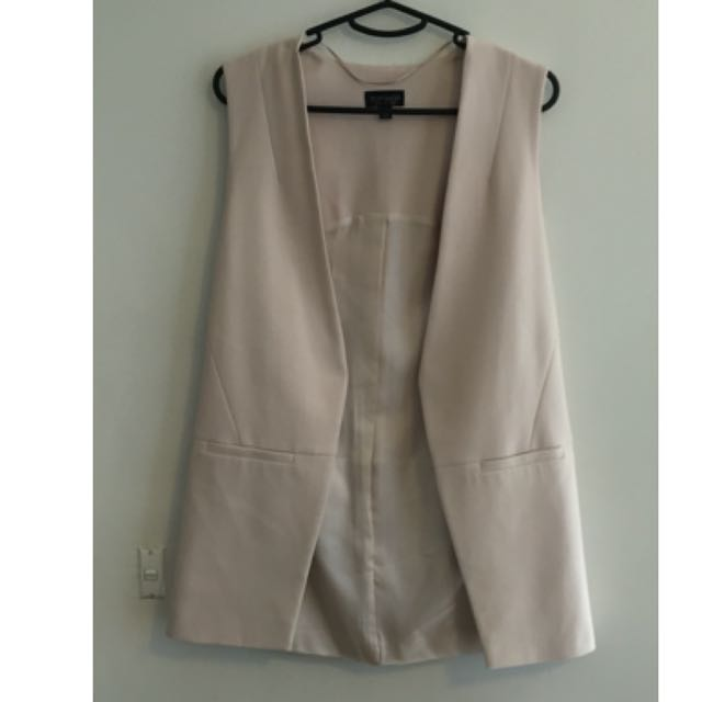 Topshop Sleeveless Blazer Blush Size: 8 (Runs Large)