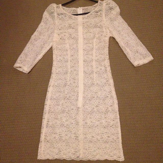 White Lace Dress Size Xs