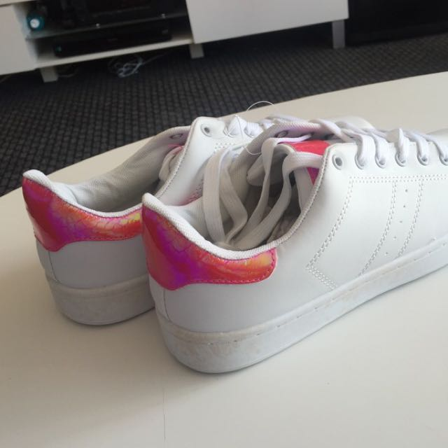 White Trainers With Pink iridescent