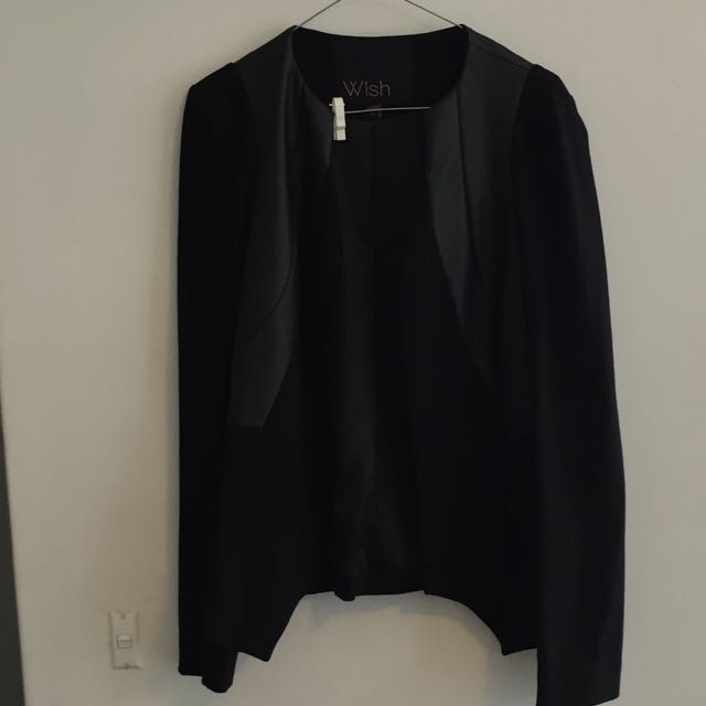 Wish Leather Look Accent Blazer Size: 10