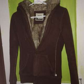 Brown TNA Faux Fur Zip-up Sweater
