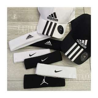Nike$280、Adidas$250、Jordan$300 運動後棉毛巾布止汗髮帶 黑、白 正品實拍 國內外公司貨