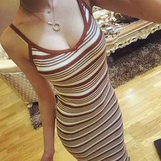 SALES | BNIB Bodycon Striped Spag Knit Dress With Side Slit (D96)