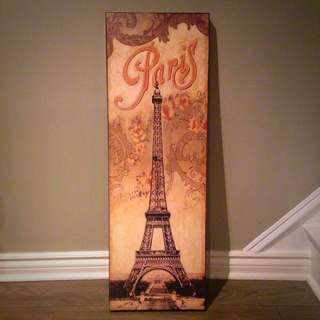 Wooden Paris painting