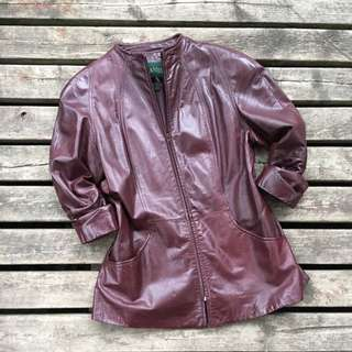 Danier Women's Maroon Leather Mandarin Jacket