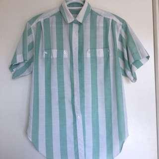 Mint Green Striped Button Up