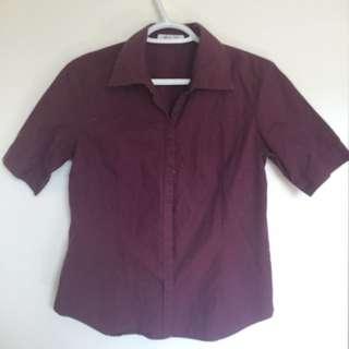Burgundy Short Sleeve Button Up
