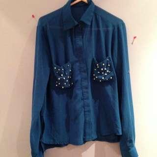Sheer Blue Button Up