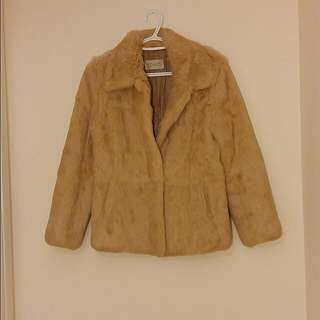 Sandy Beige Rabbit Fur Coat