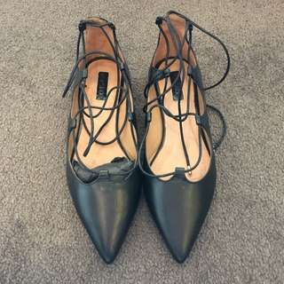 Topshop Strappy Leather Flats