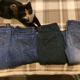 Four pairs of jeans