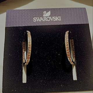 authentic SWAROVSKI pink gem hoop earrings