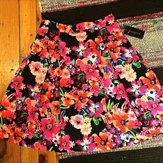 Floral Midi Length Skirt
