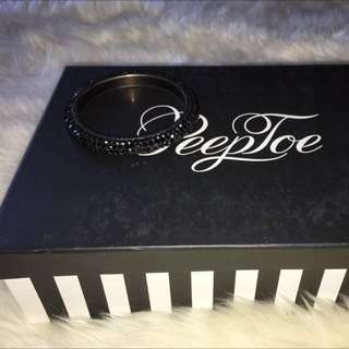 Peeptoe Black Swarovski Bangle