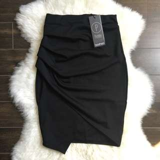 Boohoo Black Asymmetric Skirt