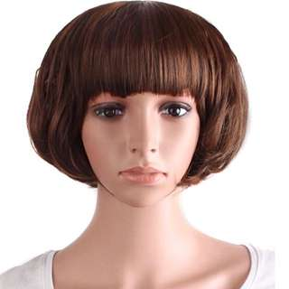 Short Brown Wig With Bangs