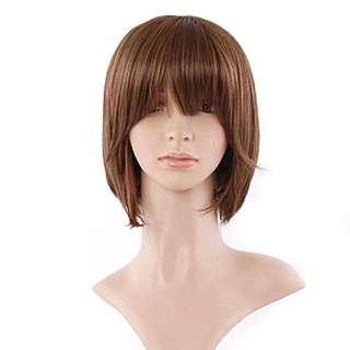 Short Straight Brown Wig With Bang