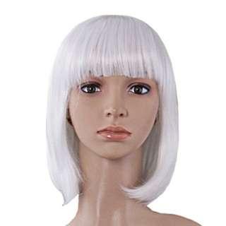 Short White Wig With Bang