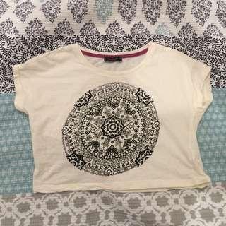 White Mandala Crop Midriff - Size 4
