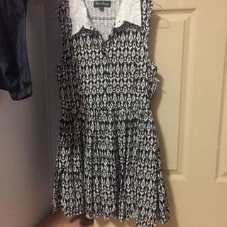 Collar Dress Black And White