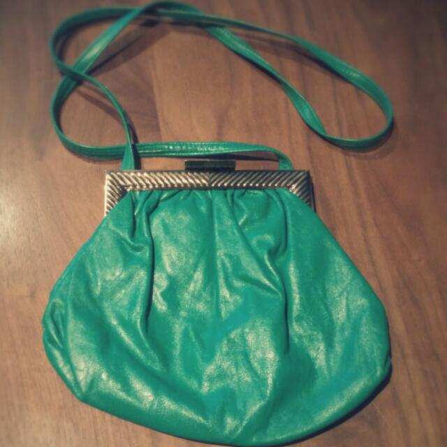 1980s Turquoise Leather Clam Shell Purse