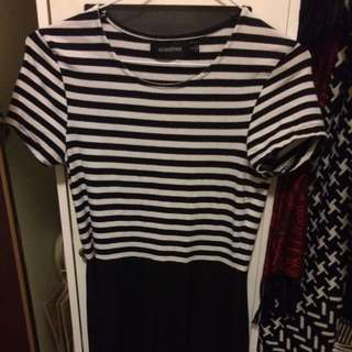 Size S Mink pink Black & White Skater Dress