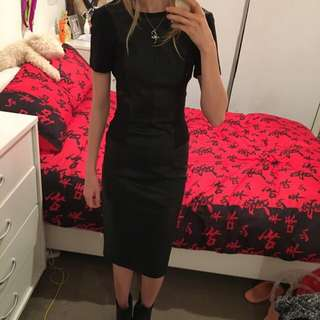 Faux Leather Black Dress Size 6 (or 34)
