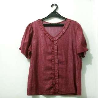 (REPRICE) Maroon Ruffle Blouse