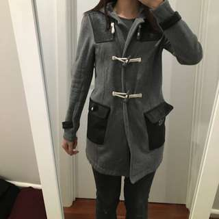 Duffle Coat In Grey With Faux Leather Details