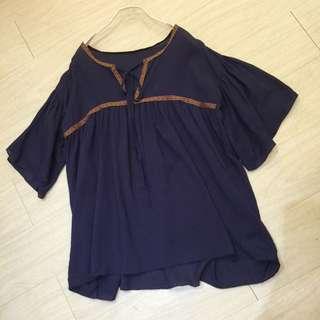 正韓特賣,深藍色棉麻民族風圖騰繫帶上衣