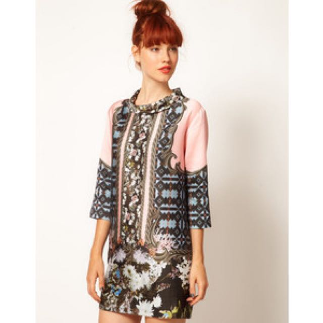 $400 Emma Cook 60s Shift Dress In Baroque Floral