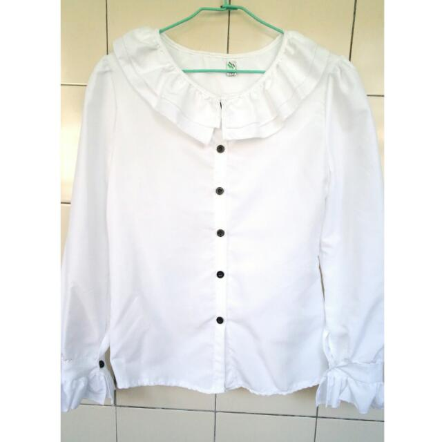 荷葉領造型襯衫