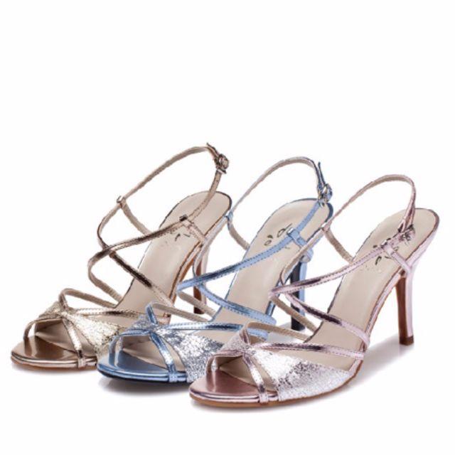 達芙妮 全智賢 代言 來自星星的你  粉銀交叉帶跟鞋