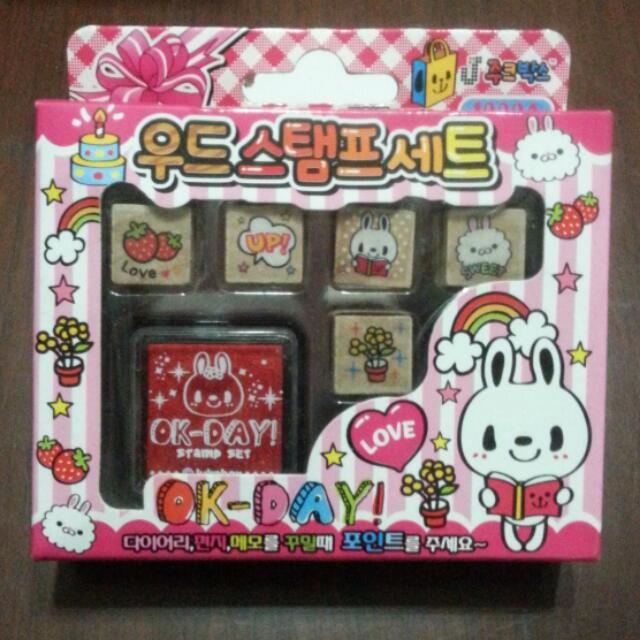 全新! 韓版 印章 附印台 可愛兔兔 裝飾卡片
