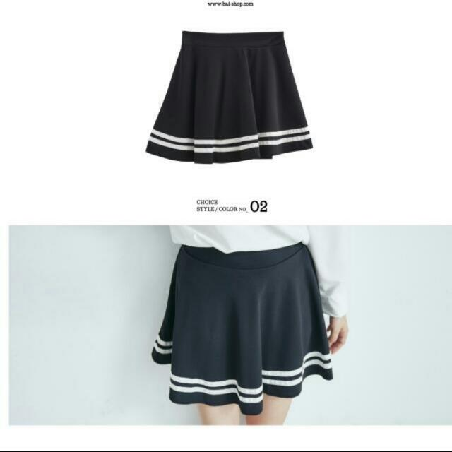 黑色滾邊百摺裙短裙A字裙褲裙